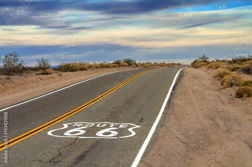 Route 66 Desert Road with painted ground sign Poster