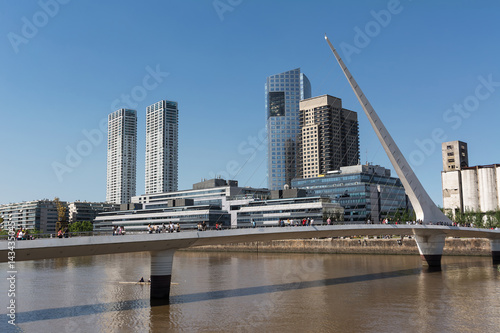 Aluminium Buenos Aires Puente de la Mujer (woman Bridge) and Skyscrapers in the Puerto Madero