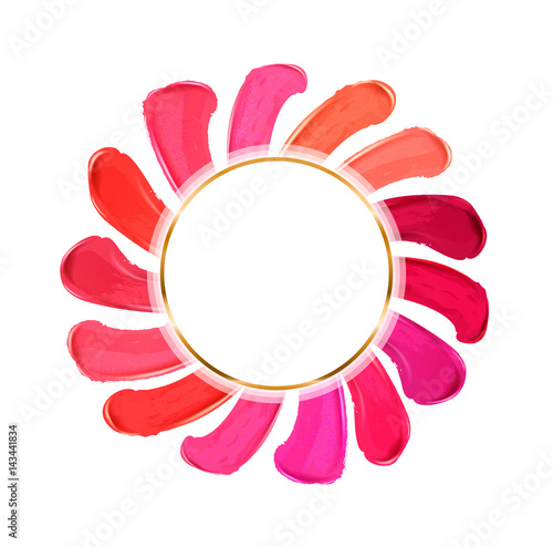 Smears lipstick. Beauty and cosmetics, brush stroke Template, card. Hand drawn elements, Vector illustration. © Gluiki