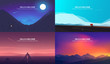 Vector banners set . Landscape illustration . flat design