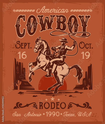 illustration rodeo poster with a cowboy sitting on a rearing horse in retro style-Lg Fridge Magnet Skin (size 36x65)