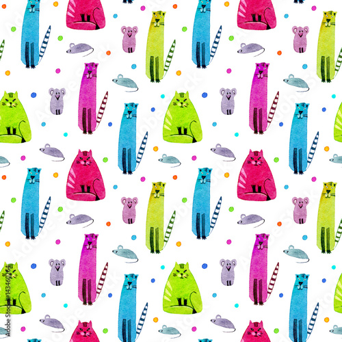 Cotton fabric Seamless pattern of a funny cat, mouse and balls. Watercolor hand drawn illustration. Colorful kitty texture.White background.
