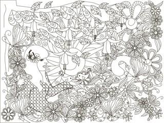 Monochrome doodle hand drawn girl with loving bird, flowers background, Lorem ipsum. Anti stress stock vector illustration