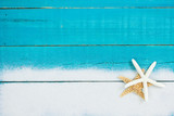 Blank beach sign with starfish and sand border - 143468808