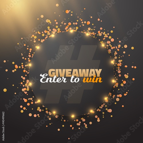 Illustration of Vector Giveaway Button Template. Realistic Button with Confetti. Enter to Win Prize Concept