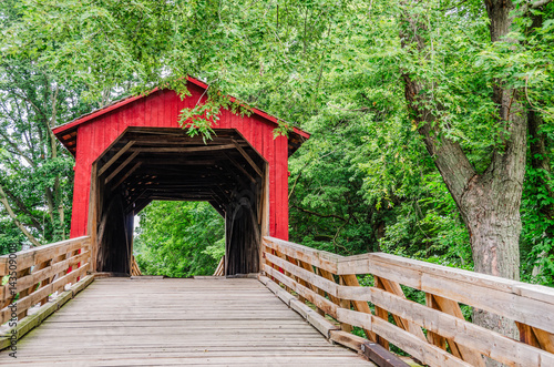 Fotobehang Route 66 Burr Arch Covered Bridge near Route 66