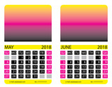Calendar grid. May. June