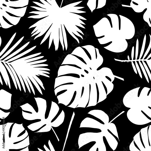 Tapeta ścienna na wymiar Seamless vector background with decorative leaves. Palm leaves.