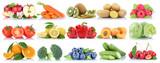 Obst und Gemüse Früchte Sammlung Apfel Tomaten Orange frische Freisteller freigestellt isoliert