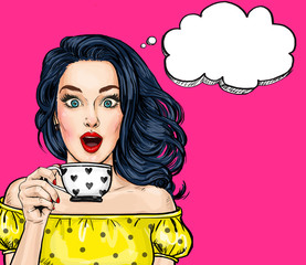 Surprised young sexy woman with open mouth with cup.Comic woman. Amazed women. Pop Art girl. l