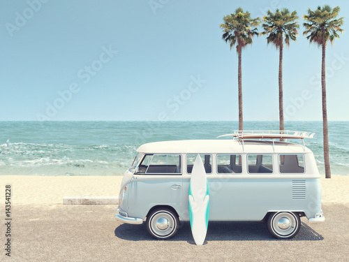 retro summer at the beach. 3d rendering - 143541228