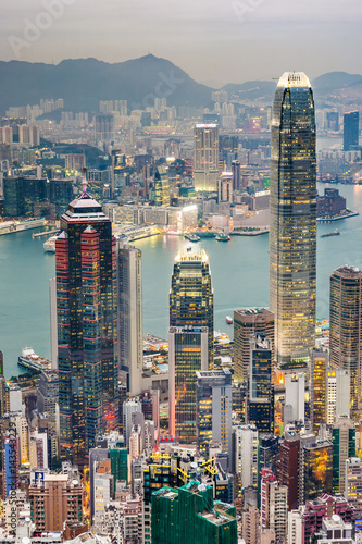 Poster Panoramic Skyline of Hong Kong City from the Peak