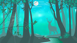 Deer. Night. Forest. Vector