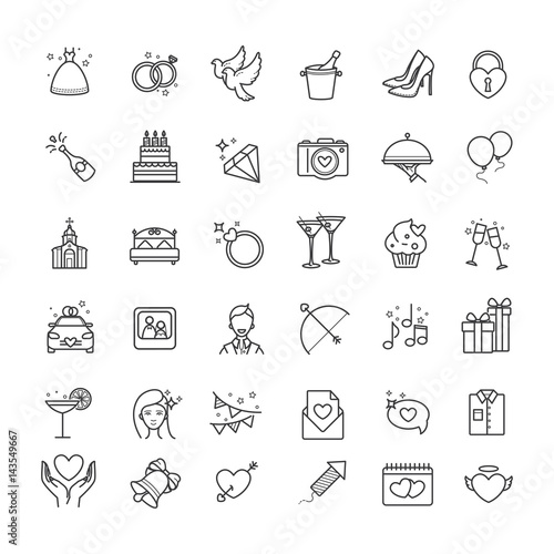 Outline set- wedding, love vector icons © anna_yakovets
