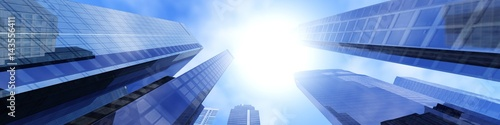 View from below to skyscrapers, beautiful panorama of modern buildings, skyscrapers against the sky, clouds and city, 3d rendering