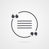 Quotation mark symbol. Vector icon isolated on grey gradient background