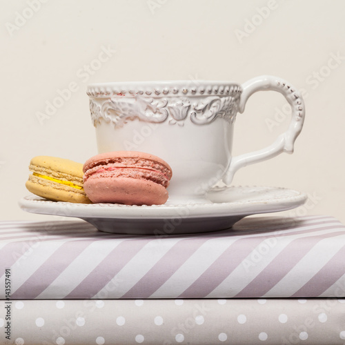 Cup of tea with macarons