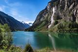 Mountain lake alpine scenic. Stillup lake austrian summer mountain landscape, Tyrol