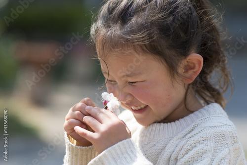 白い花の香りを嗅ぐ女の子