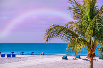 Lovely deserted beach and palm trees. A gentle rainbow in the sky. USA. Florida.