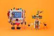 Robots friends ready for service repair. Funny robotic characters with instrument, pliers hand wrenches. Smile message blue screen monitor, cyborg electric wires hairstyle, circuits. Orange background