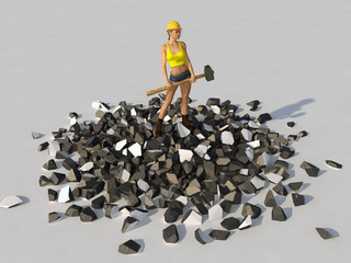 Woman with a sledgehammer standing on a pile of debris