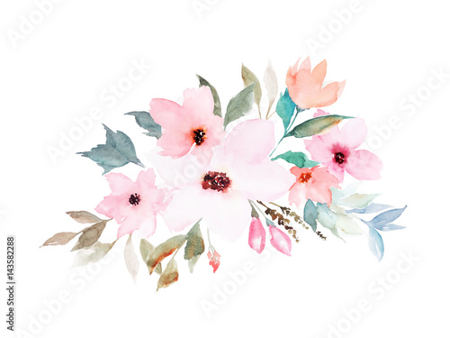 Wall mural Watercolor floral template for wedding cards, invitations, Easter, birthday. Vector illustration