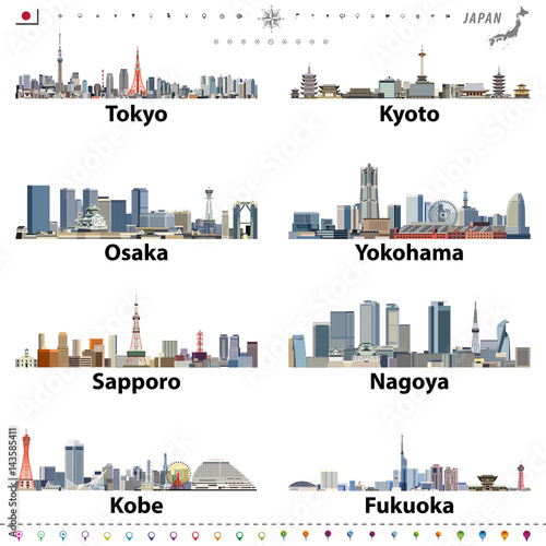 vector illustration of japanese city skylines with location, navigation and travel icons; flag and map of Japan