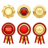 Red award rosettes and gold heraldic medals and insignia - 143589074