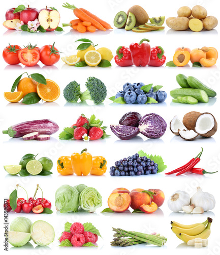 Obst und Gemüse Früchte Sammlung Apfel Tomaten Orange Weintrauben Salat Bananen frische Freisteller freigestellt isoliert