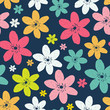 Abstract Natural Seamless Pattern Background with Colorful Flowe - 143604448