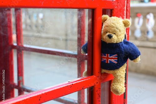 Bear is in telephone booth in London, England