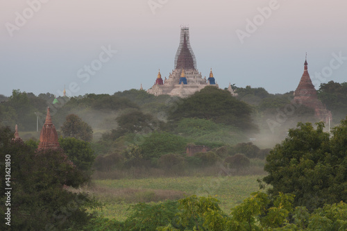 Haze around temples in Bagan Poster