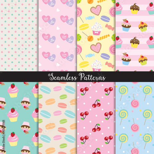 fototapeta na ścianę Vector illustration of cute dessert seamless pattern set.