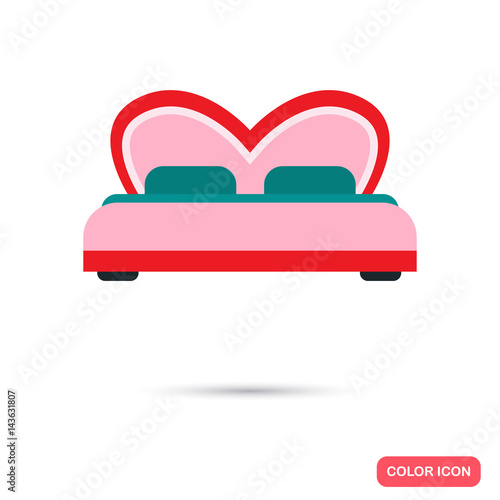 Romantic bed color flat icon for web and mobile design