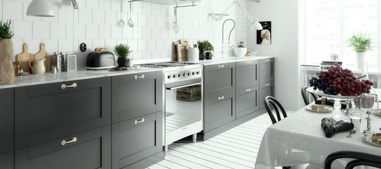 Modern Kitchen Arrangement (panoramic) © 4th Life Photography