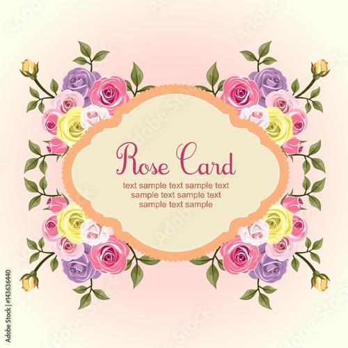 Tuinposter Abstract bloemen flat rose card