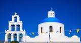 White church with blue dome in Santorini, Greece - 143636840