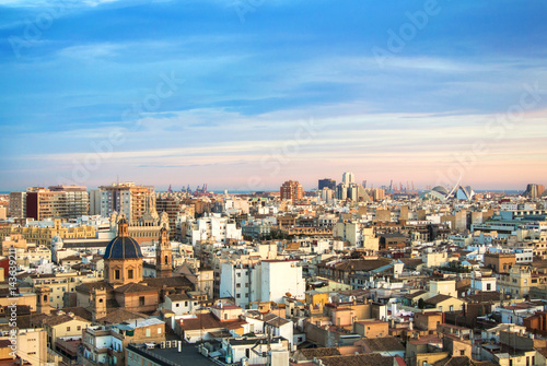 Evening panoramic view of Valencia from a tower of Valencia cathedral, Spain.
