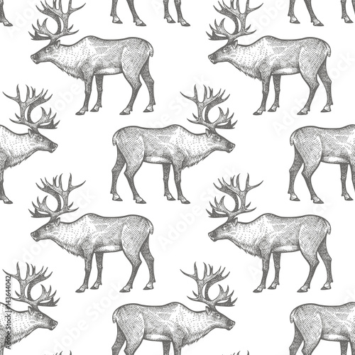 Cotton fabric Seamless pattern with Reindeer.