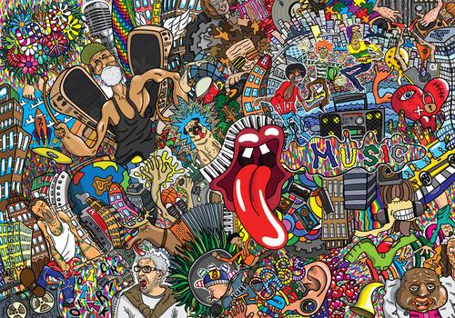 Music collage on a large brick wall, graffiti