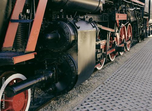 Details of Polish steam locomotive. Poster