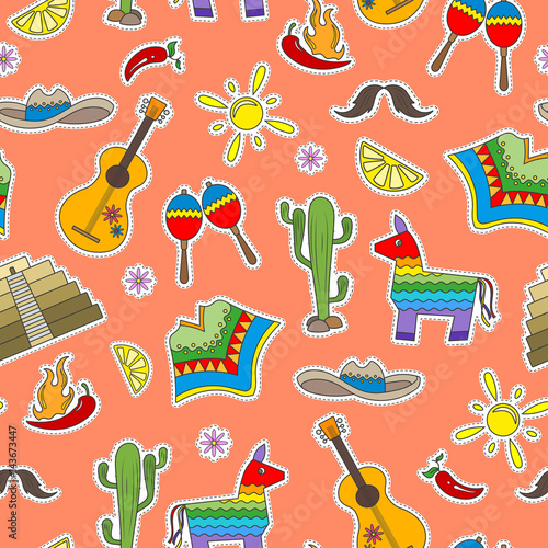 Seamless pattern on the theme of recreation in the country of Mexico, colorful patches icons on a orange  background © Zagory