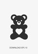 Bear doll icon, Vector