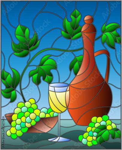 ilustracja-w-witrazu-styl-malowania-z-martwa-natura-dzbanek-wina-szkla-i-winogron-na-niebieskim-tle