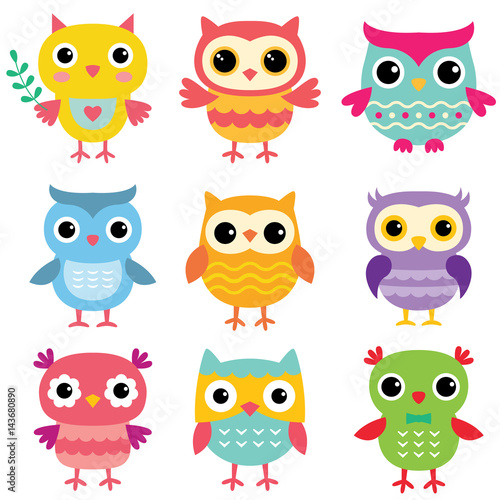 Isolated cute cartoon owls set