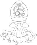 Niedliches Einhorn In Rakete Vektor Illustration Wall Sticker