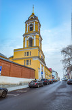 The bell tower overlooking the Rozhdestvenka street, Moscow