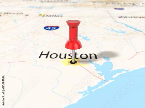 Plagát Pushpin on Houston map