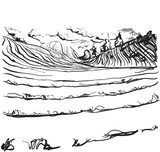 Hand drawn field panoramic wide landscape.